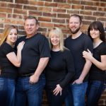 family portraits dressed in black tshirts