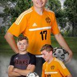 High school senior boy soccer composite photo in Waverly IA