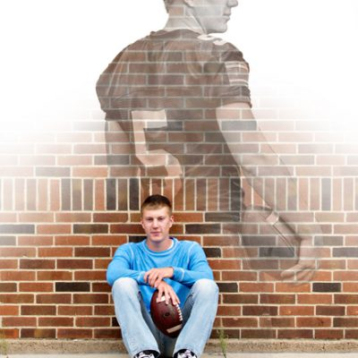 Waverly-CedarFalls senior picture with football