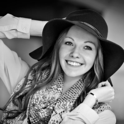 Senior Picture Gallery Waverly Cedar Falls Iowa Bo Studio 121 Black and White girl with hat
