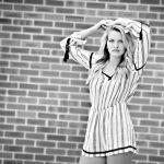 Senior Picture Gallery Waverly Cedar Falls Iowa Picture in black and white girl in striped jumper Bo Studio 121