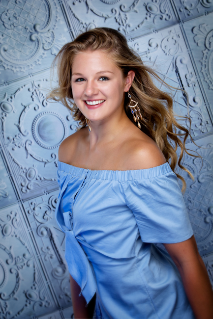 Senior Picture Information for Senior Sessions girl in blue dress with blond hair Iowa