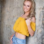 HS Senior Pics girl with mustard off the shoulder top